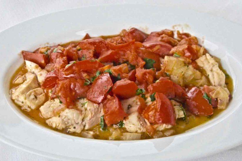 Σφυρίδα με ντοματούλα - Αμφιλύκη - Ταβέρνα & Πανσιόν, Σκιάθος - Greek Gastronomy Guide